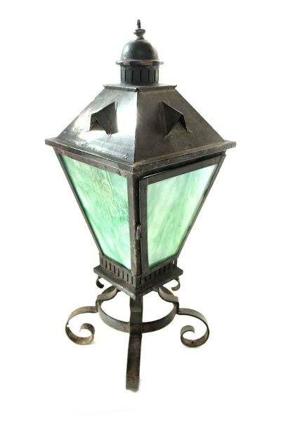 Vintage Iron Standing Lantern with Green Slag Glass