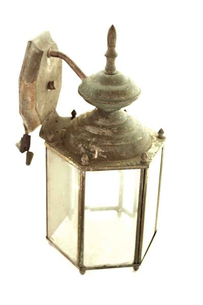 Brass Lantern Light with Five Clear Glass Panels