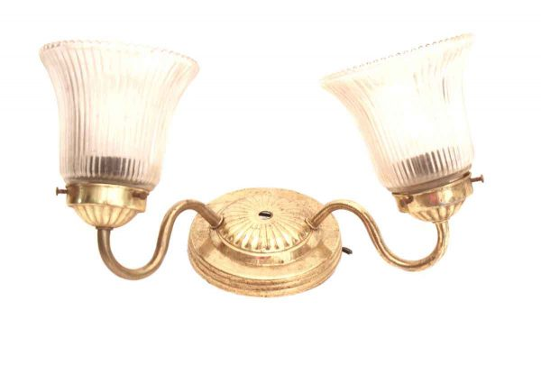 Brass Two Arm Sconce with Glass Globes