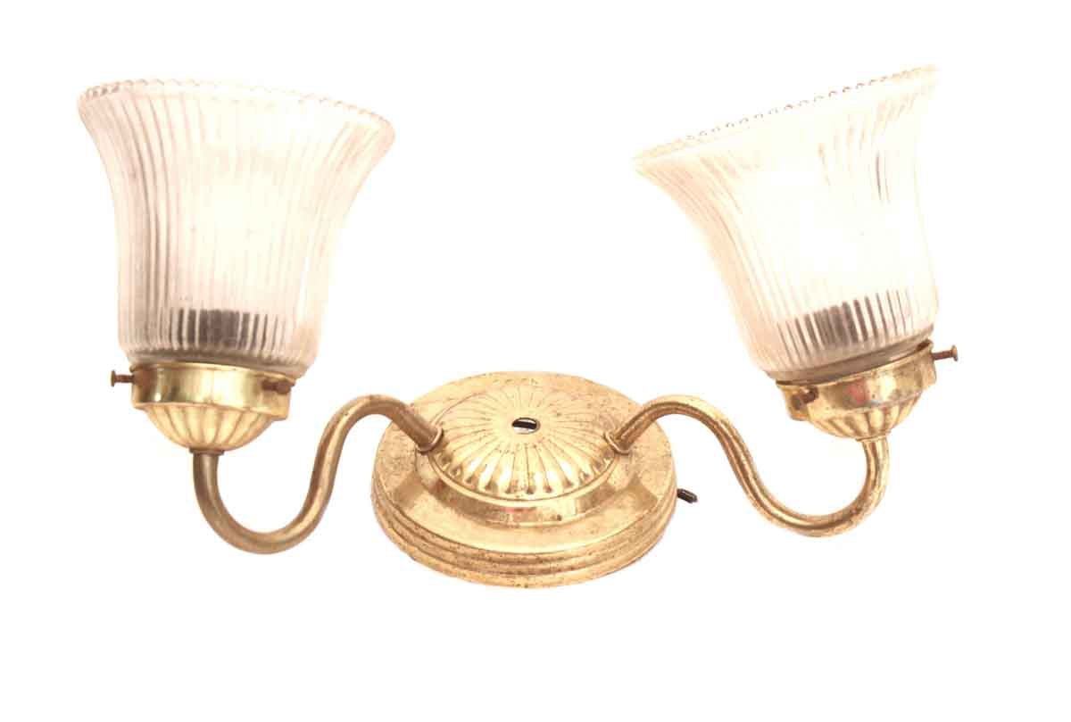 Brass Two Arm Sconce with Glass Globes Olde Good Things