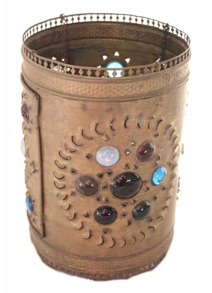 Primitive American Punched Tin Lantern with Colored Jewels