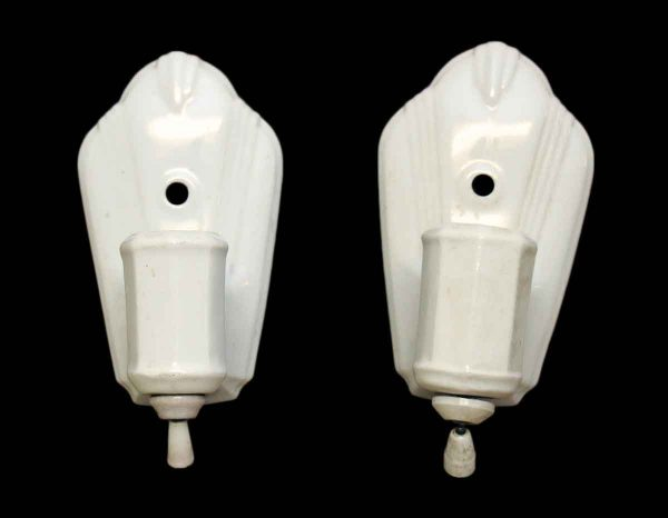 Pair of 1940s White Porcelain Deco Sconces