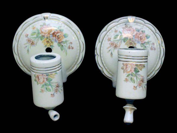 Pair of Floral Porcelain Bathroom Sconces