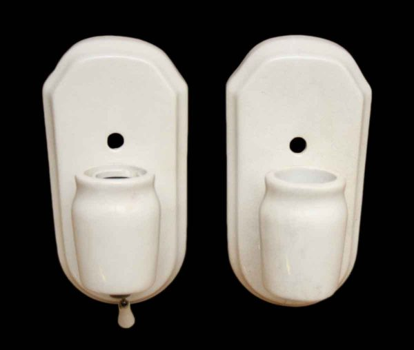 Pair of Simple White Porcelain Sconces