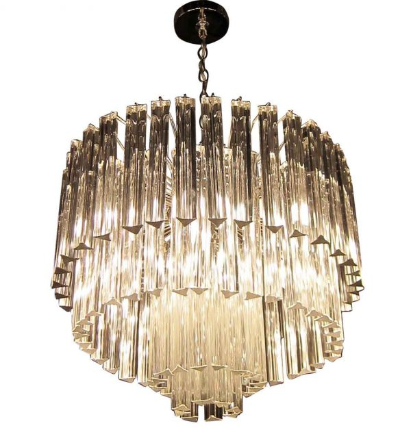 Venini Four Tier Chandelier with Icicle Crystals