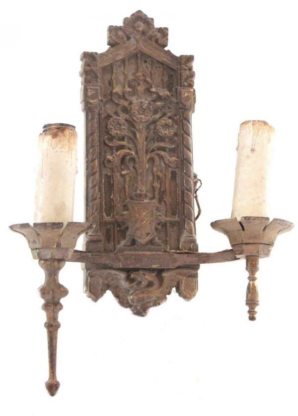 Pretty Ornate Floral Bronze Double Arm Sconce