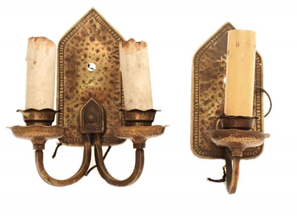 Five Piece Arts & Crafts Hammered Bronze Sconce Set