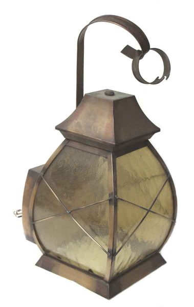 Light Weight Brass Lantern Cover with Amber Glass