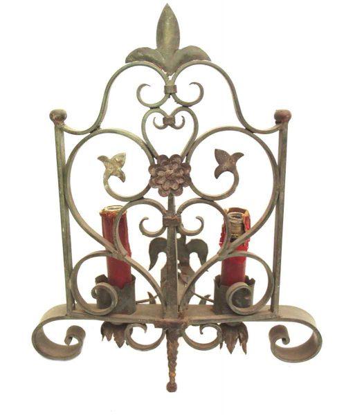 Ornate Double Arm Sconce with Fleur de Lis Design