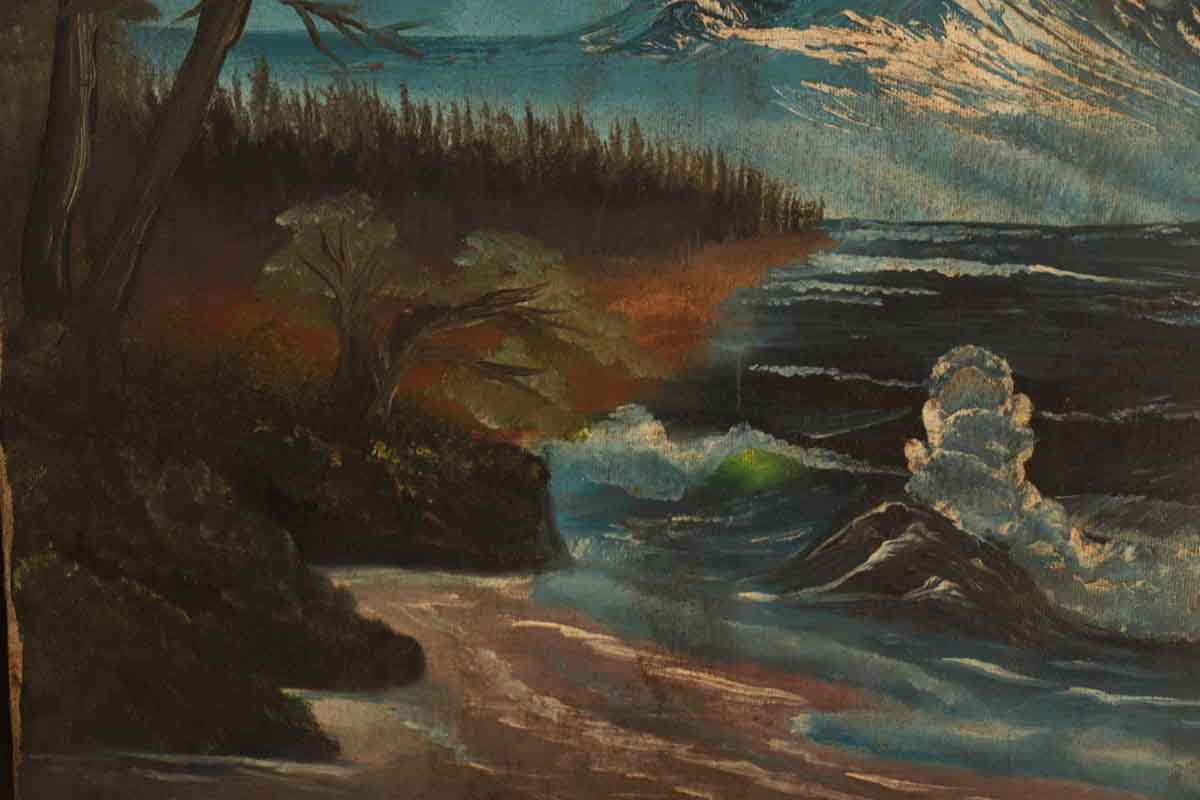 Canvas Painting Of A Mountain Scene Olde Good Things