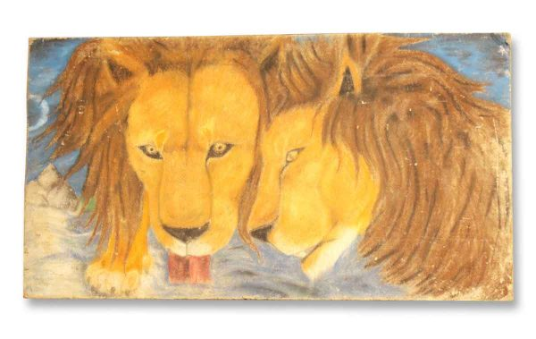 Lions Lapping Water Painting