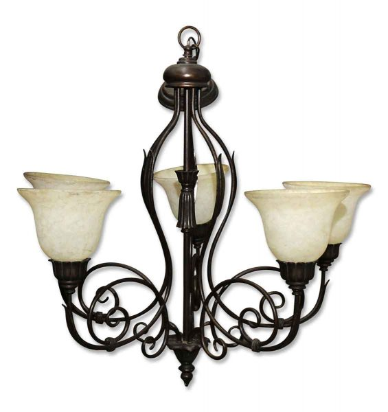 Five Light Vintage Wrought Iron Chandelier with Glass Shades