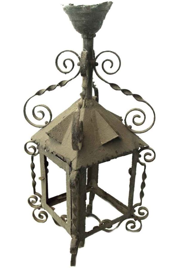 19th Century Wrought Iron Gas Lantern Frame
