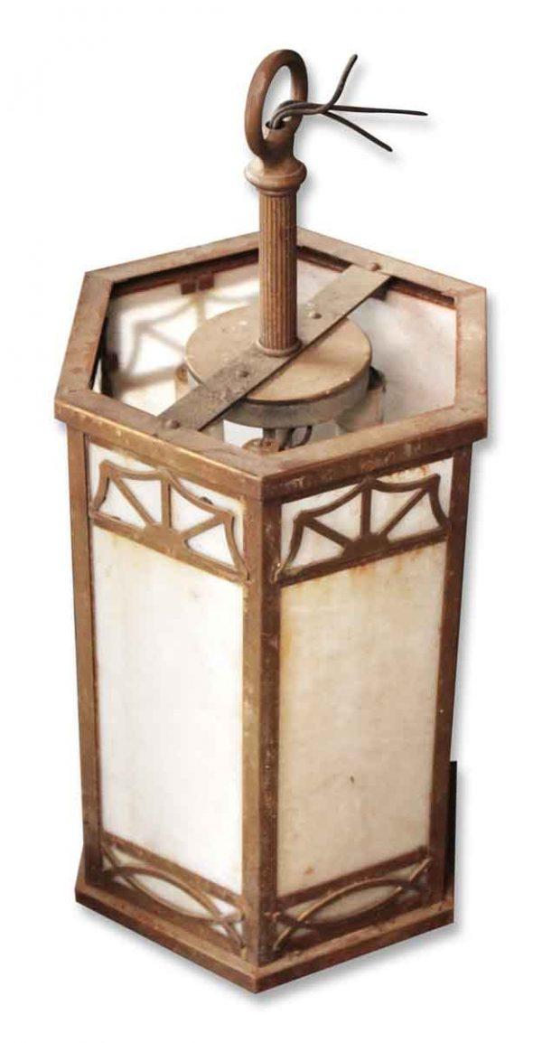 Church Pendant Lantern with Slag Glass