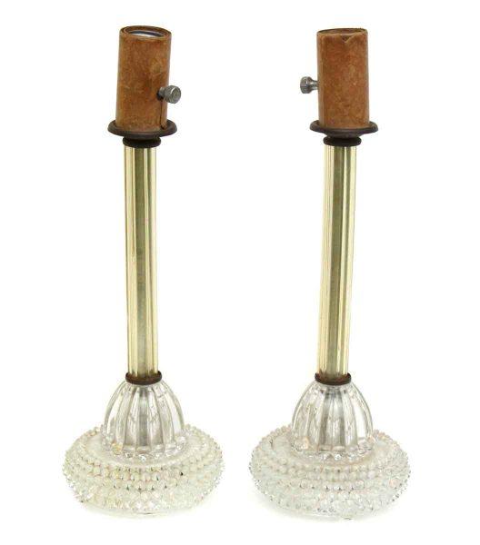 Pair of Slender Glass Bedside Lamps