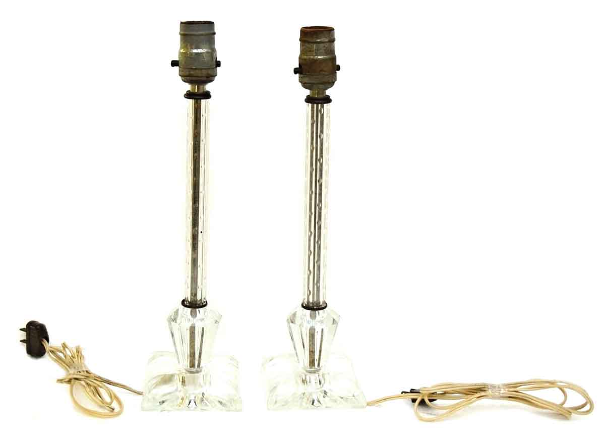pair of antique glass table lamps olde good things. Black Bedroom Furniture Sets. Home Design Ideas