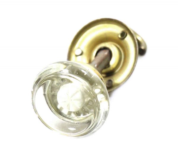 Art Deco Glass Knob with Rosette & Closet Spindle