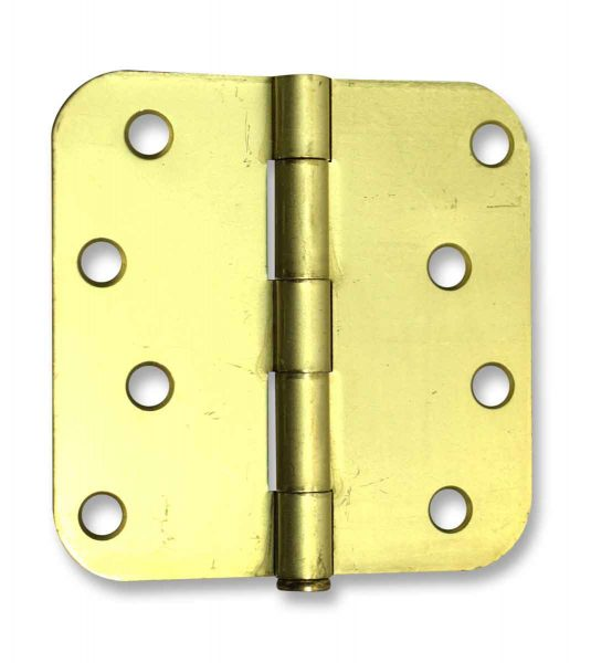 Pair of Brass Rounded 4 X 4 Hinges