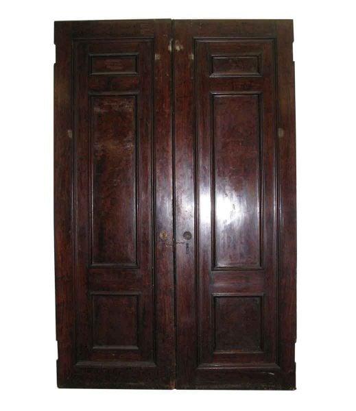 Three Panel Double Doors Mahogany