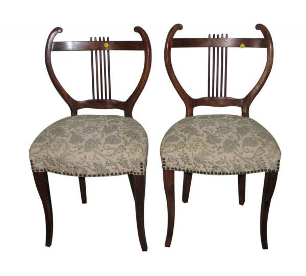 Pair of Mahogany Upholstered Chairs with Musical Motif