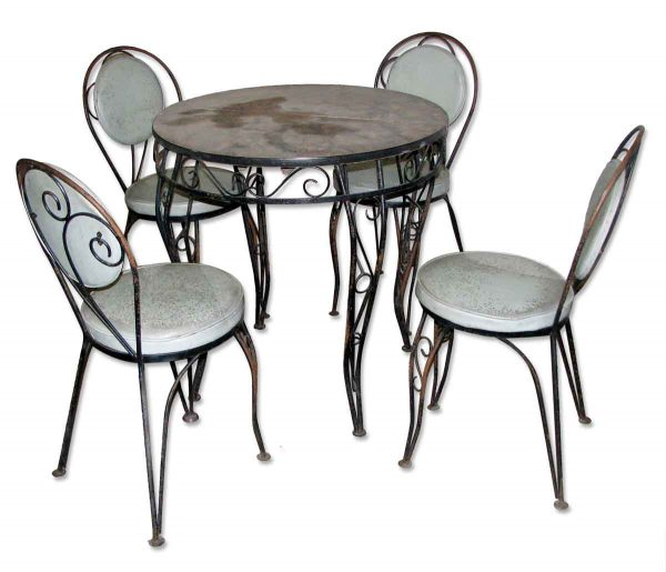 Wrought Iron & Glass Patio Table Set
