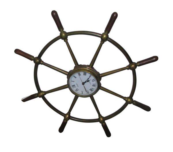 Solid Bronze Ship Wheel with Quartz Clock