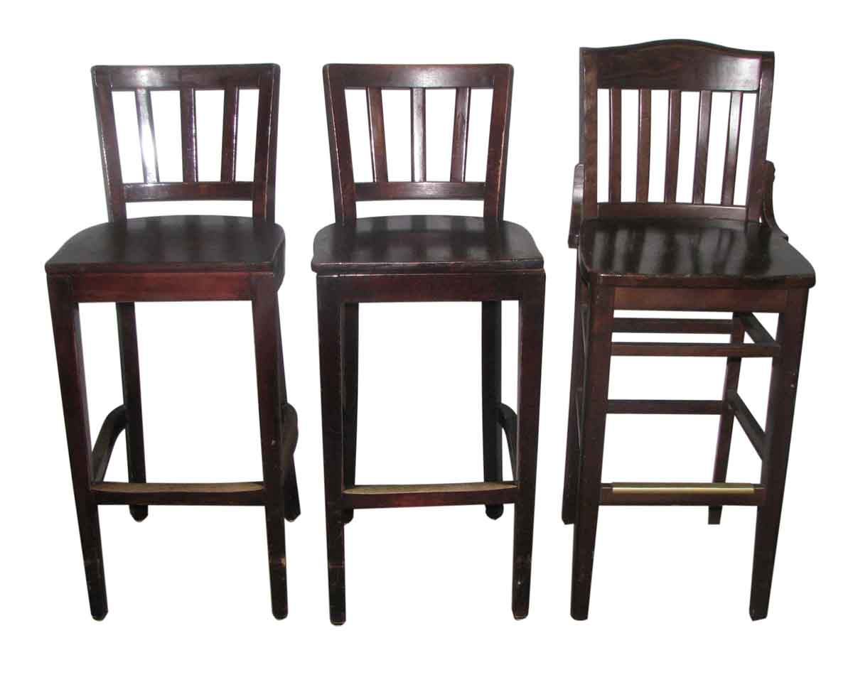 set of three wooden bar stools with slatted back olde good things. Black Bedroom Furniture Sets. Home Design Ideas