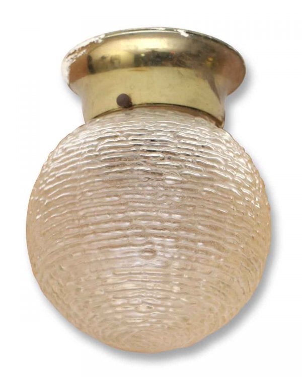 Round Small Rippled Glass Globe with Brass Fitter
