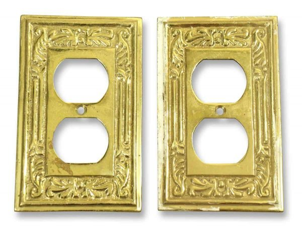 Pair of Brass Ornate Outlet Covers
