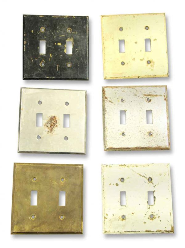 Set of Six Worn Plain Two Light Switch Covers