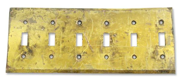 Very Worn Six Switch Brass Cover