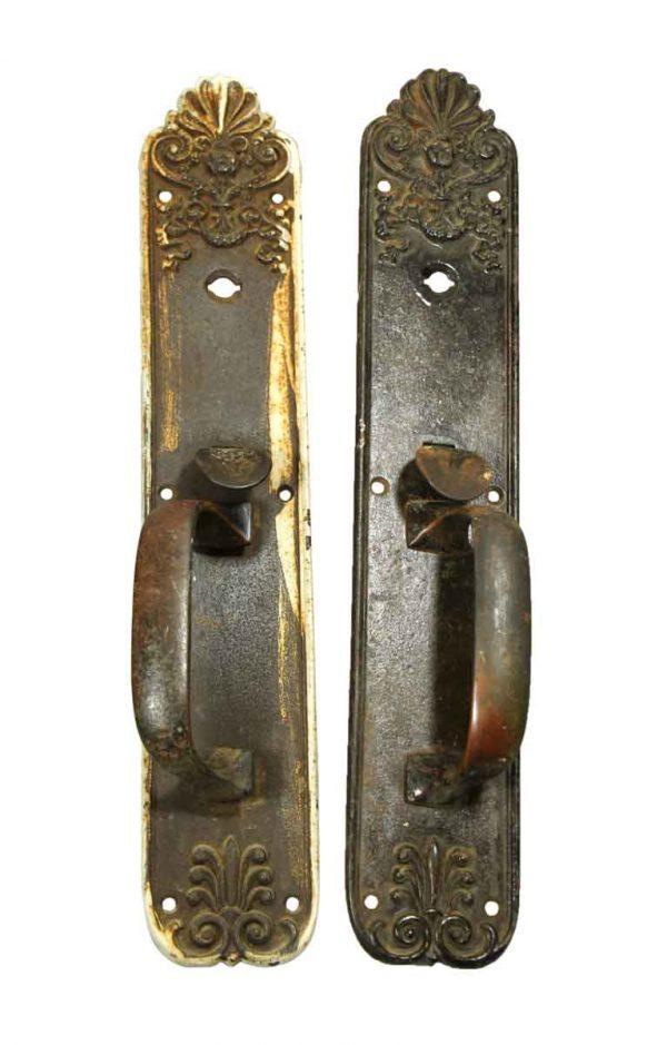 Pair of Ornate Bronze Patina Door Pulls