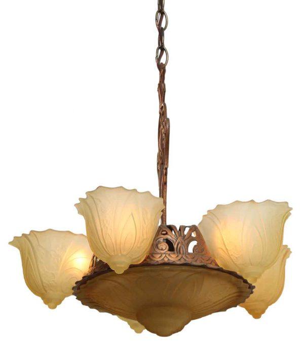 Five Light Art Deco Slip Shade Chandelier