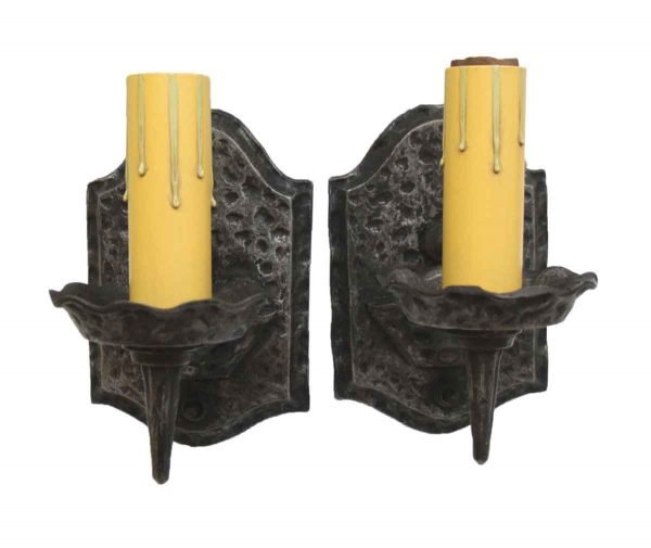 Pair of Arts & Crafts Hammered Sconces