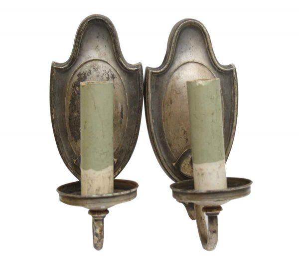 Antique Pair of Silver Single Arm Sconces