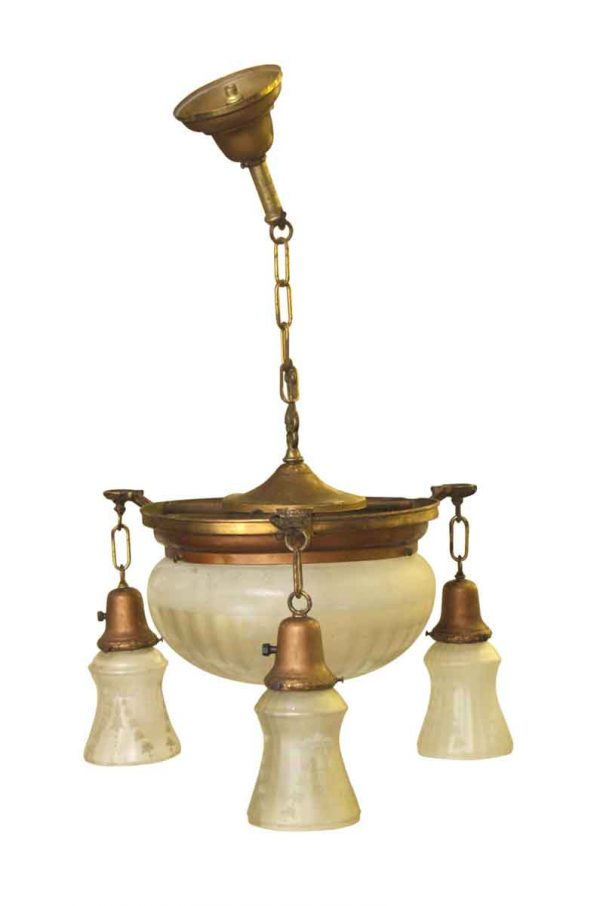 Victorian Opalescent Dome Light with Three Glass Down Lights