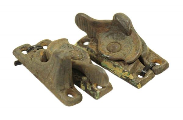 Pair of Worn Iron Victorian Window Locks