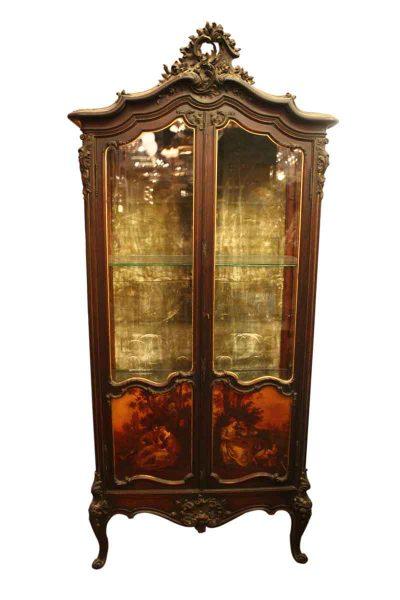 Louis Xv Style French Vitrine with Painted Panels