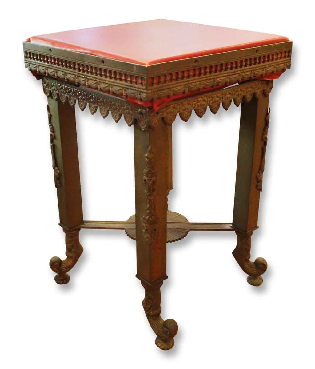 Pair of bronze stools or side tables with red tops olde - Antique side tables for living room ...