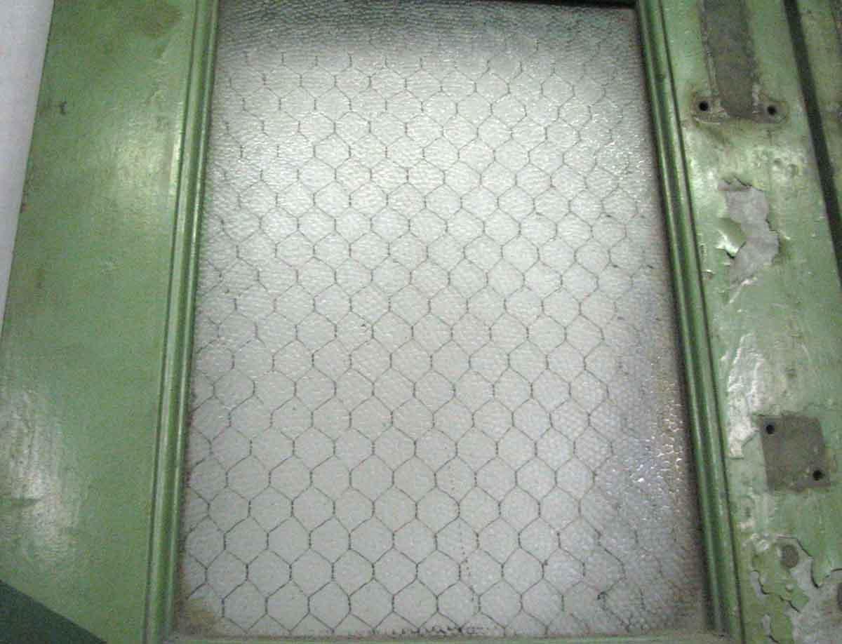 Narrow Four Pane Chicken Wire Glass Galvanized Metal Doors | Olde ...