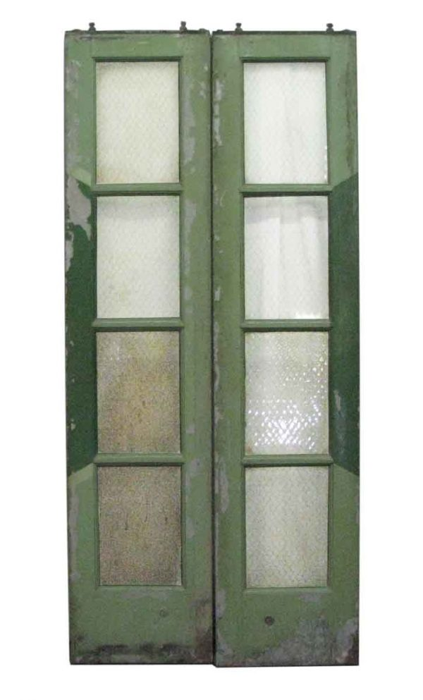 Narrow Four Pane Chicken Wire Glass Galvanized Metal Doors