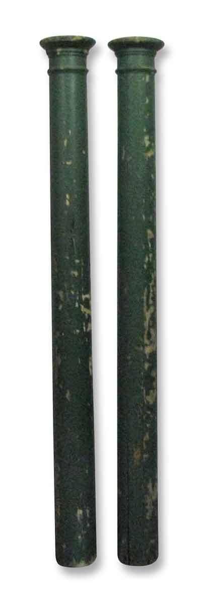 Pair of Simple Wooden Columns in Vintage Green