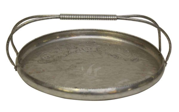 Pretty Round Vintage Silver Tray with Deer Design & Handle