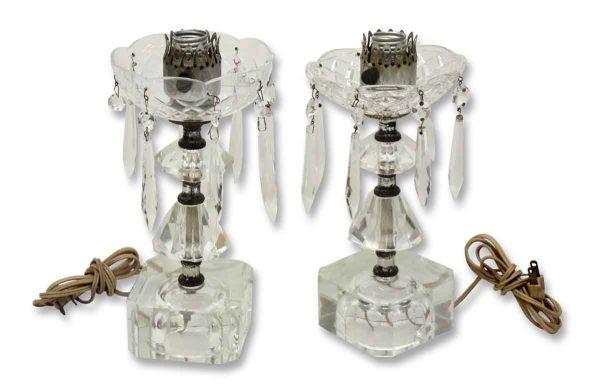 Pair of Crystal & Glass Vanity Lamps