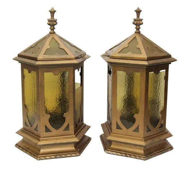 Pair of Gothic Lanterns with Brass Finish