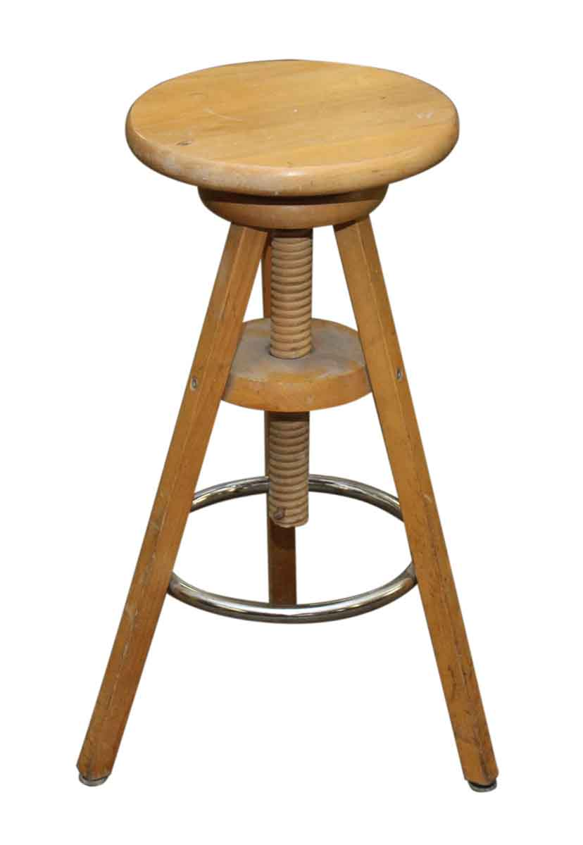 Vintage Wooden Stool With Adjustable Height Olde Good Things