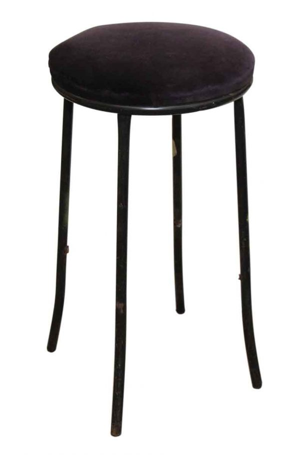 Stool with Slender Legs & Deep Purple Cushion
