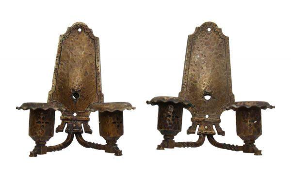 Hammered Bronze Arts & Crafts Double Arm Sconces