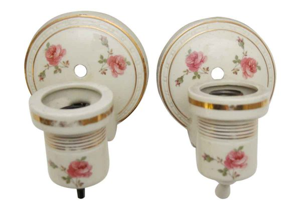 Porcelain Bathroom Sconces with Gold & Floral Design