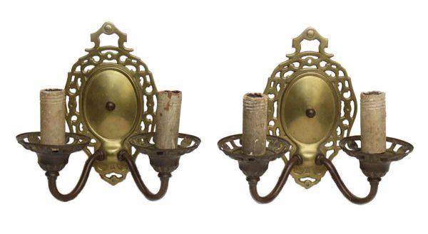 Pair of Double Arm Brass Sconces